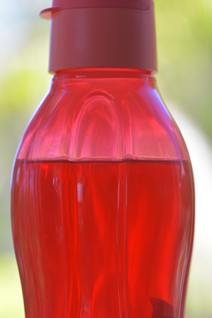 Red plastic translucent drinking bottle with red lid and strengthening ribs partially filled with clear liquid. Stock Photo