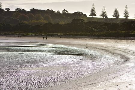 Shallow bay with sand flats exposed during low tide in evening back light. Stock fotó