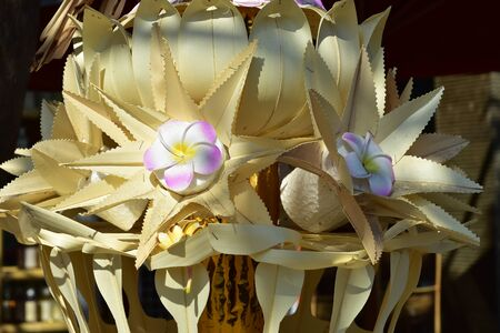 Traditional flower shaped celebration decorations of Balinese Hinduism.