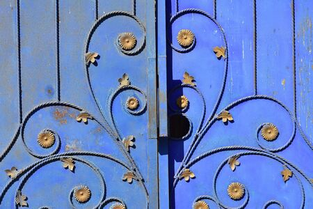Detail of blue weathered metal gate with plant like ornaments and rusty spots.