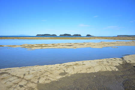 Flat coast with rocky platforms drying during periods of low tide with small forest covered islands in far background.