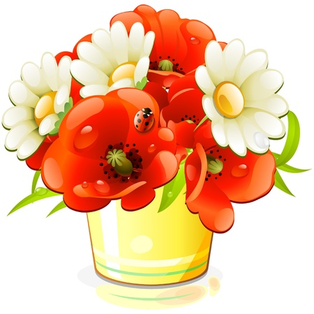 flowers in vase: bunch of flowers in yellow bucket Illustration