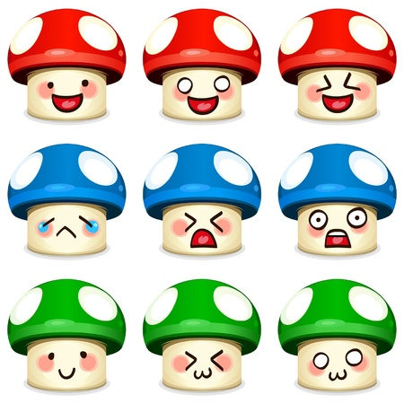 paddenstoel: Champignon icon set Stock Illustratie