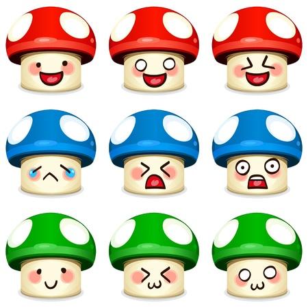 mushroom cartoon: mushroom icon set