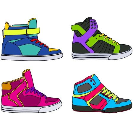 Skateboarding colección de zapatos Ilustración de vector