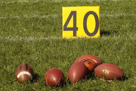 yard sign: Picture of American football on a 40 Yard Sign on the ground in St. Plten Austria 20150516 Editorial