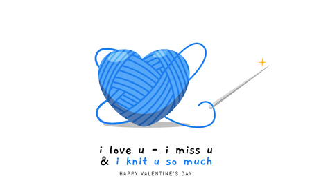 The blue heart shaped wool Illustration