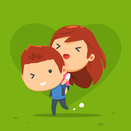 a couple is doing piggyback Illustration