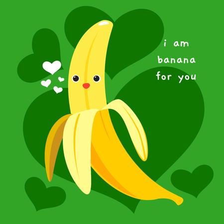 una banana felice. illustrazione vettoriale Vettoriali