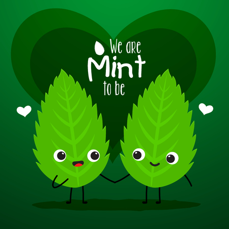 A couple of mint is holding hand. Vector Illustration