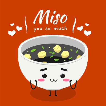 a cute mascot of white bowl of miso soup. Vector Illustration 向量圖像