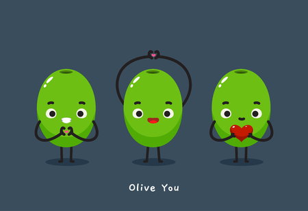 three olive with text Olive you