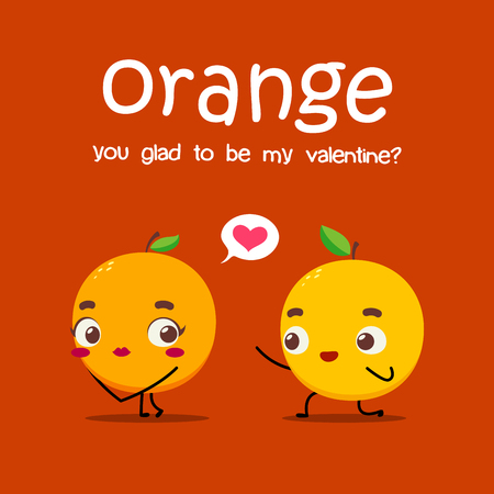 An orange is proposing other orange. Vector Illustration 向量圖像