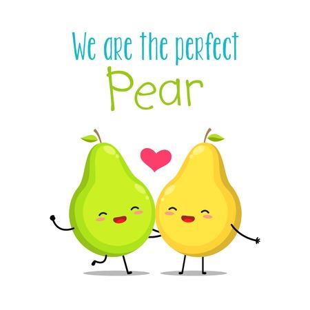 Una pera verde y amarilla. Ilustración vectorial Ilustración de vector