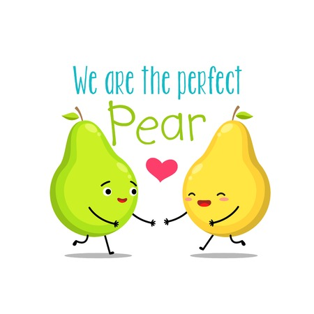 A yellow and green pear. Vector illustration
