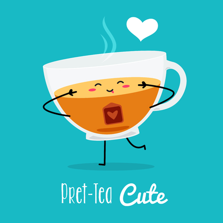 a cute pose of a tea. Vector Illustration