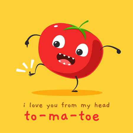 A tomato showing his toe. Vector Illustration
