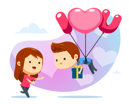 A floating boy with balloon and a girl ready to catch Illusztráció