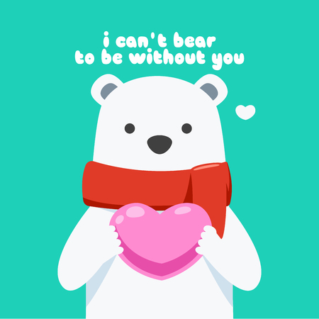 A snow bear is holding a pink heart Illustration
