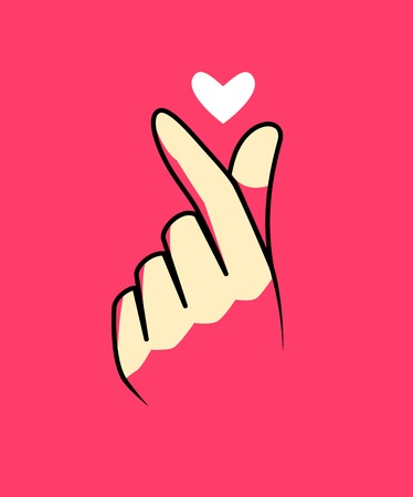 Korean hand's gesture to say I love you