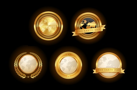 Set of golden earth emblem. Isolated Vector.