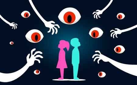 The children with scary eyes watching them. Conceptual Poster