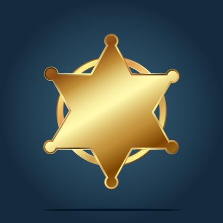 Leere Vorlage des goldenen Sechs-Sterne-Abzeichens. Vektorillustration