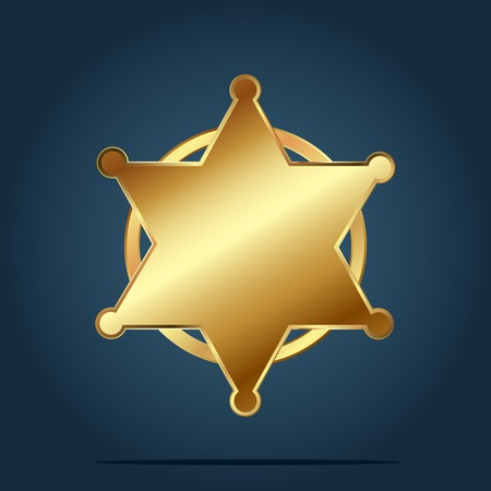 Blank template of golden six star badge. Vector Illustration