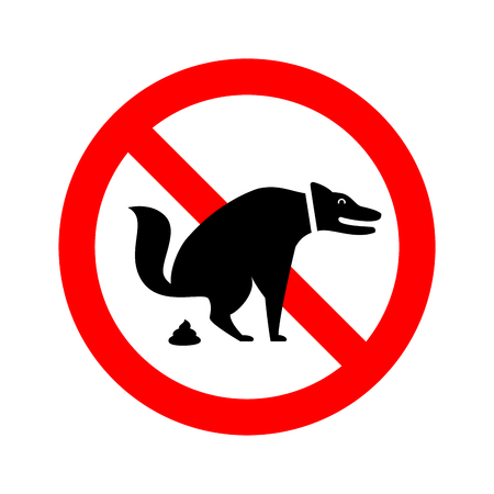 No Dog Pooping allowed. Forbidden Vector Sign Banque d'images - 117524358