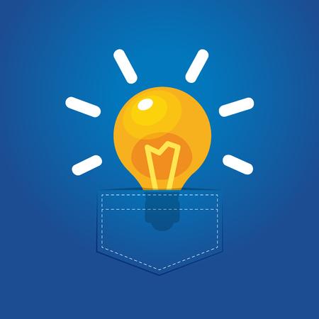 a bright bulb in a pocket