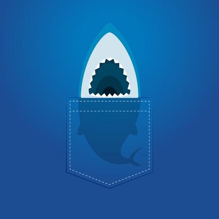 A shark head inside the pocket