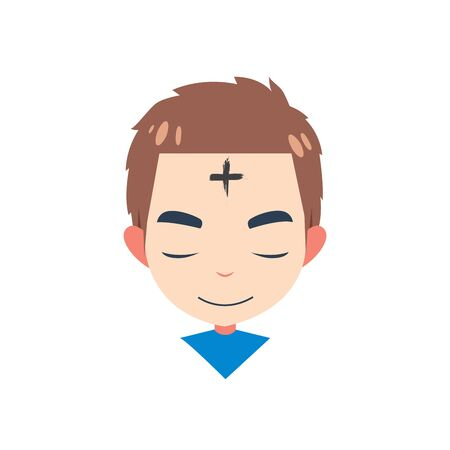 a boy with cross in forehead
