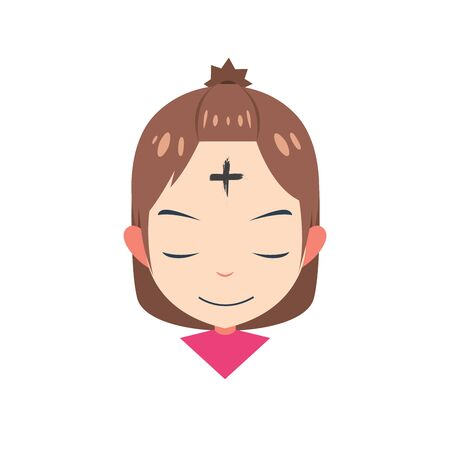 a girl with cross in forehead