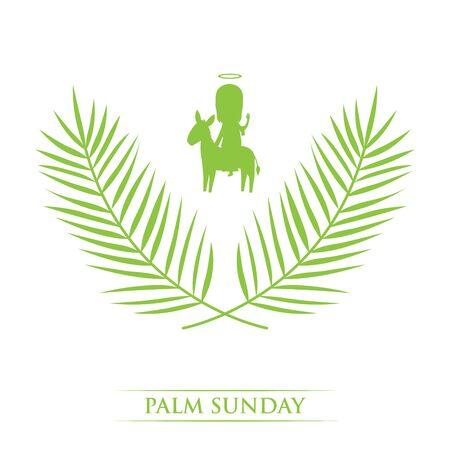 domenica delle palme - silhouette di foglie di palma e persona santa che cavalca un asino