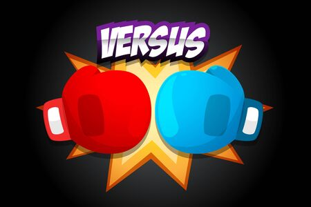 Red and Blue Boxing Gloves on dark background
