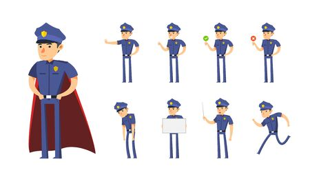 The Policeman Cartoon Set. Vector Illustration Illustration