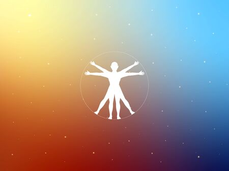 Vitruvian person in colorful background. Isolated Vector Illustration