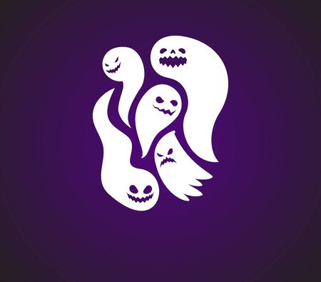 logo de cinq fantômes. Illustration abstraite. Illustration vectorielle Logo