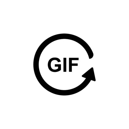 text gif with rotating icon. Vector illustration Illustration