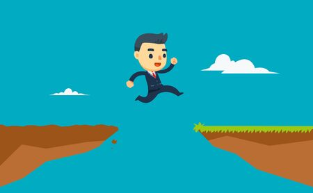 a businessman is jumping trough the cliff