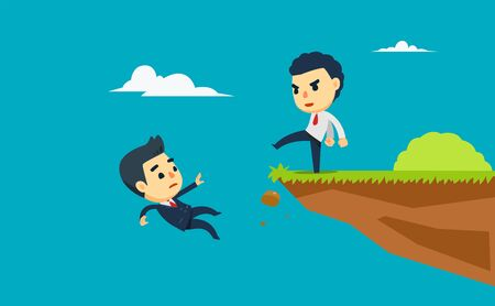 a businessman kick other person from the cliff