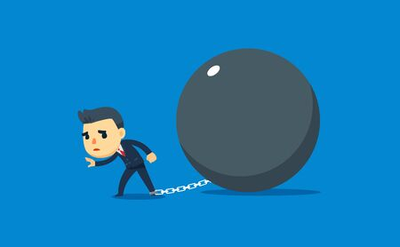 a businessman tied with giant iron ball