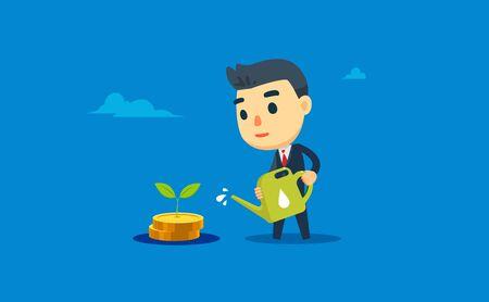 a businessman is watering his money plant Illusztráció