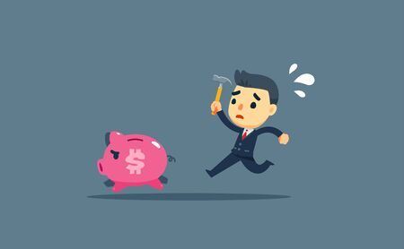 a businessman chasing a small pig Illustration