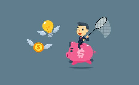 a businessman trying to catch money and idea while riding a giant pig