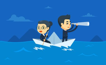 a businessman and woman is riding a boat
