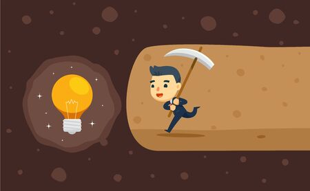 a business man is digging a cave for idea treasure. vector illustration