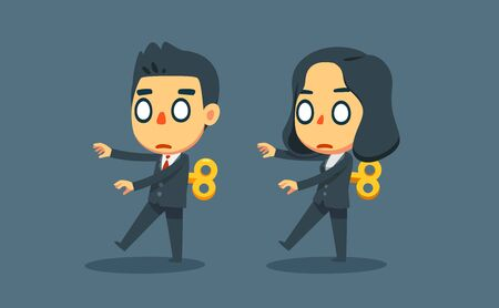 A man and woman walking like toys. Isolated Vector Illustration