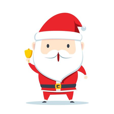 Santa Claus is holding and ringing the bell
