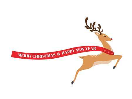 Reindeer standing in full body with greeting text. Vector Illustration